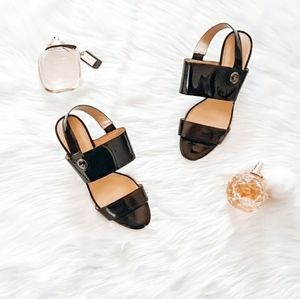 Coach black patent leather Marla slingback heel